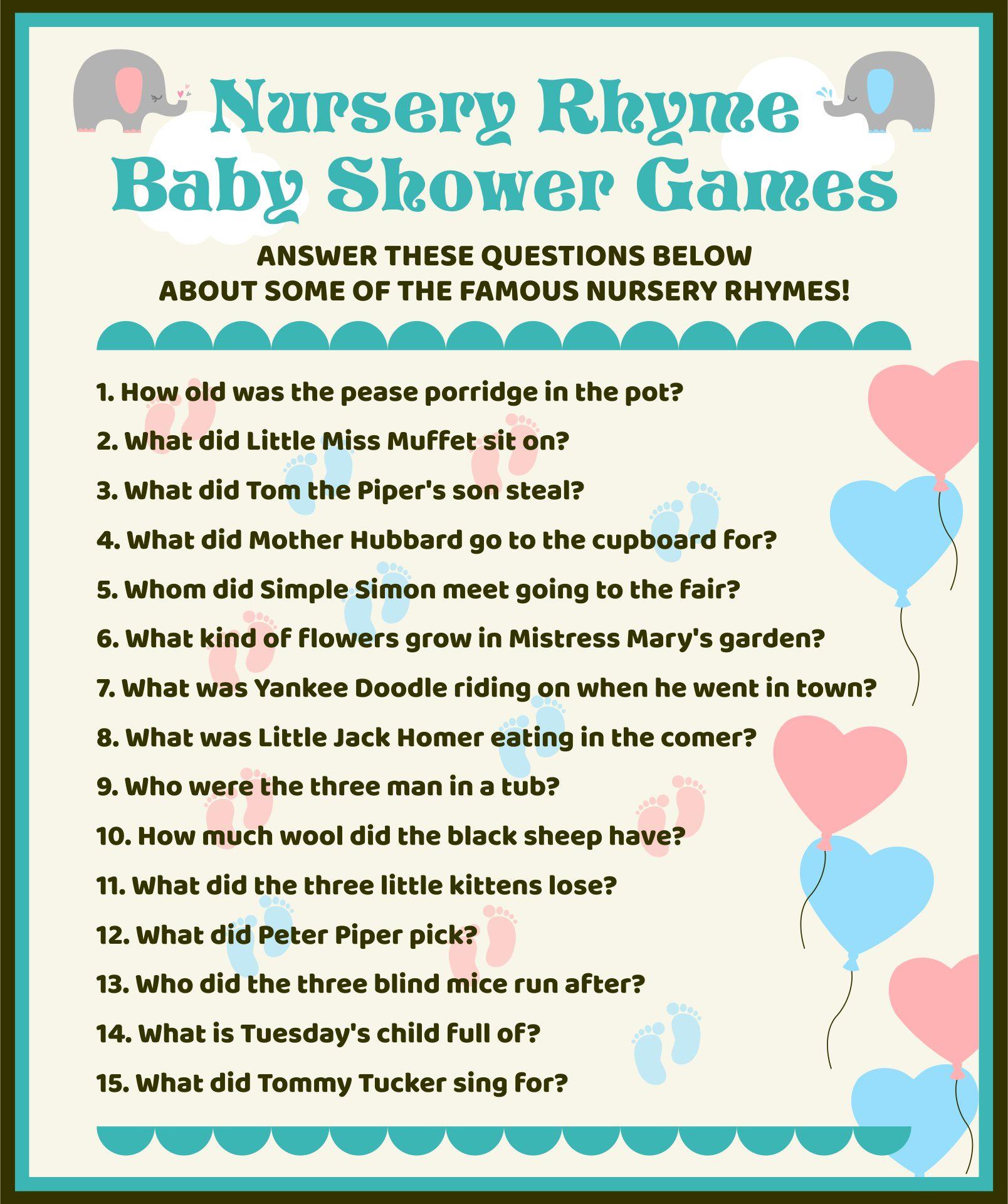 7 Images of Printable Nursery Rhyme Baby Shower Games