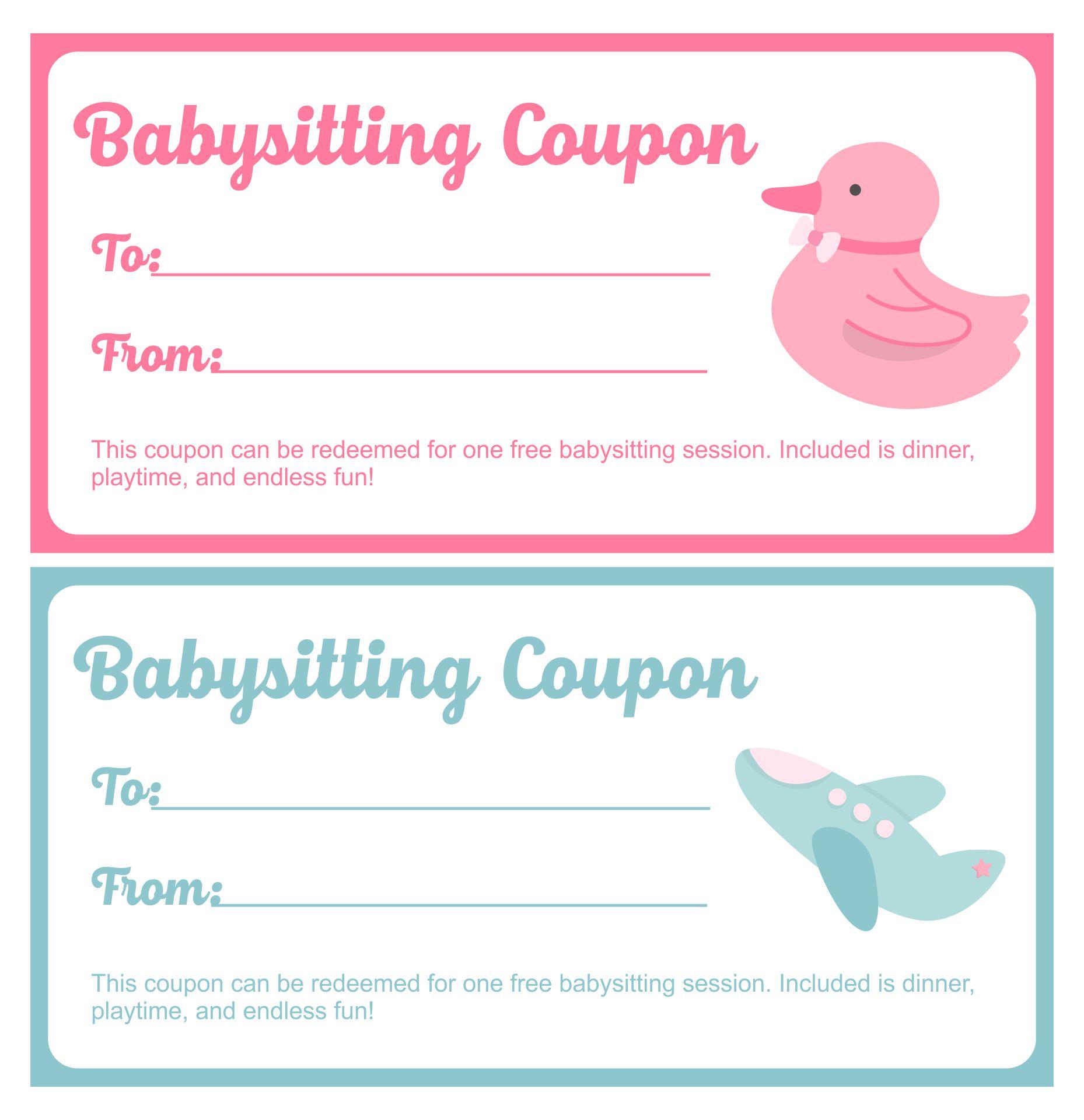 Babysitting Coupon Template