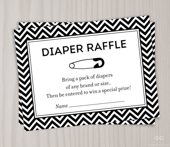 5 Images of Black And White Printable Diaper Raffle Ticket Templates