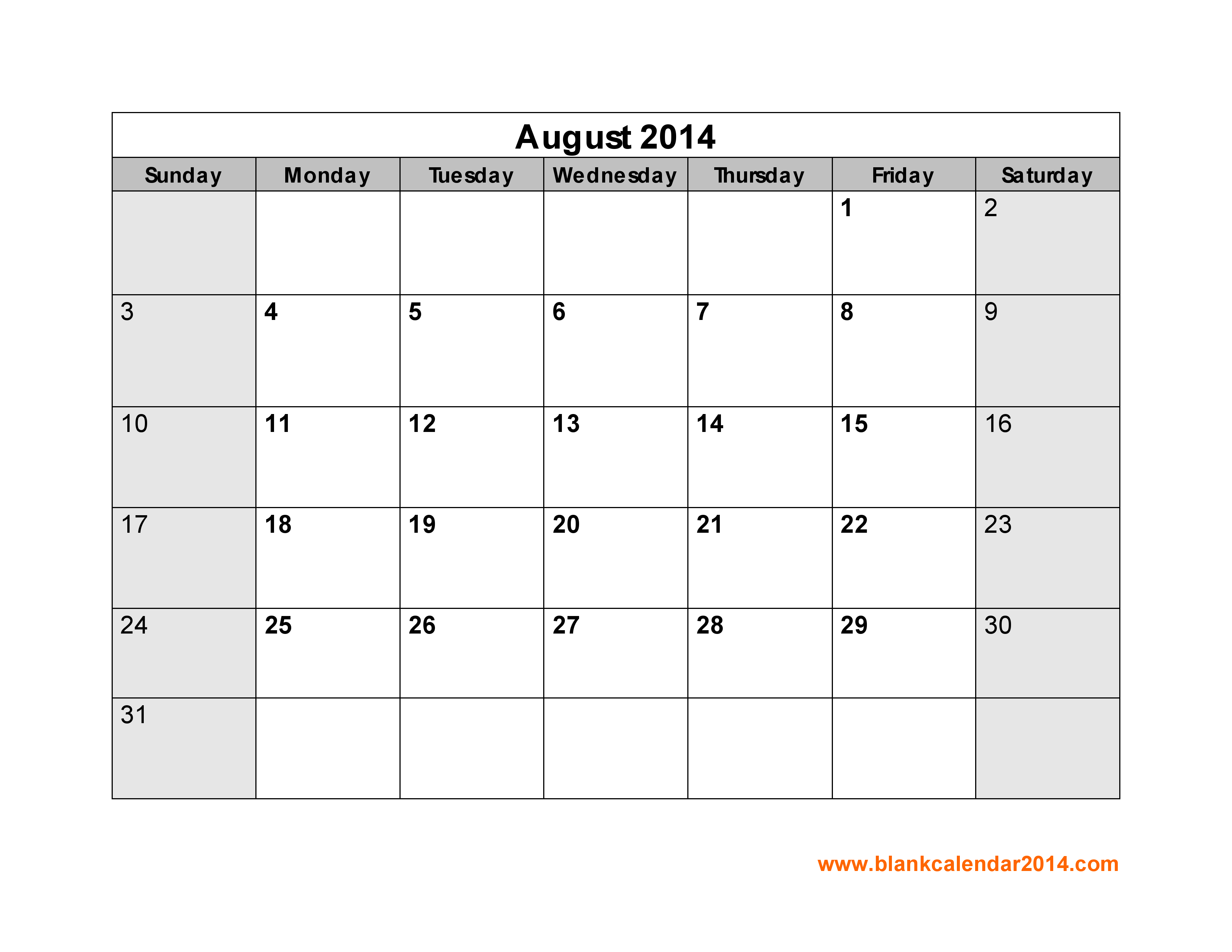 7 Images of August 2014 Calendar Printable Free