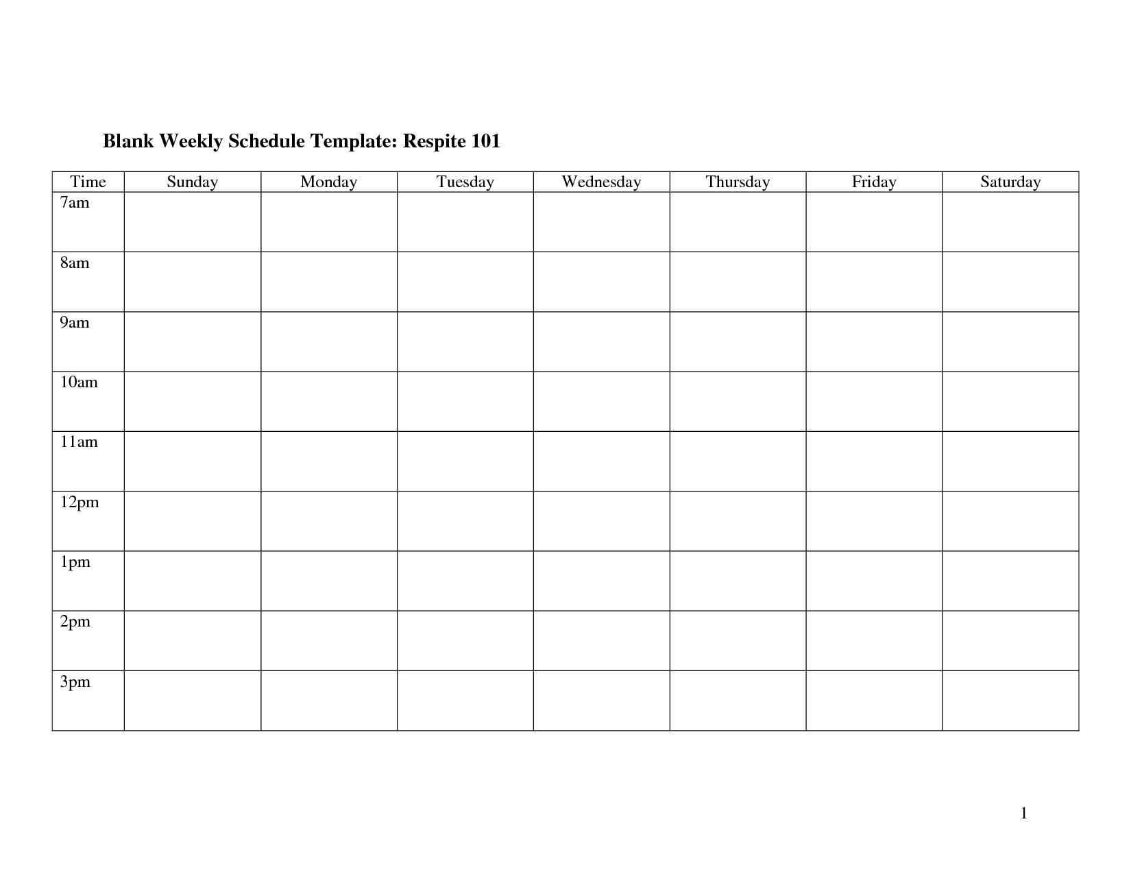 7 Images of Blank Weekly Schedule Template Printable