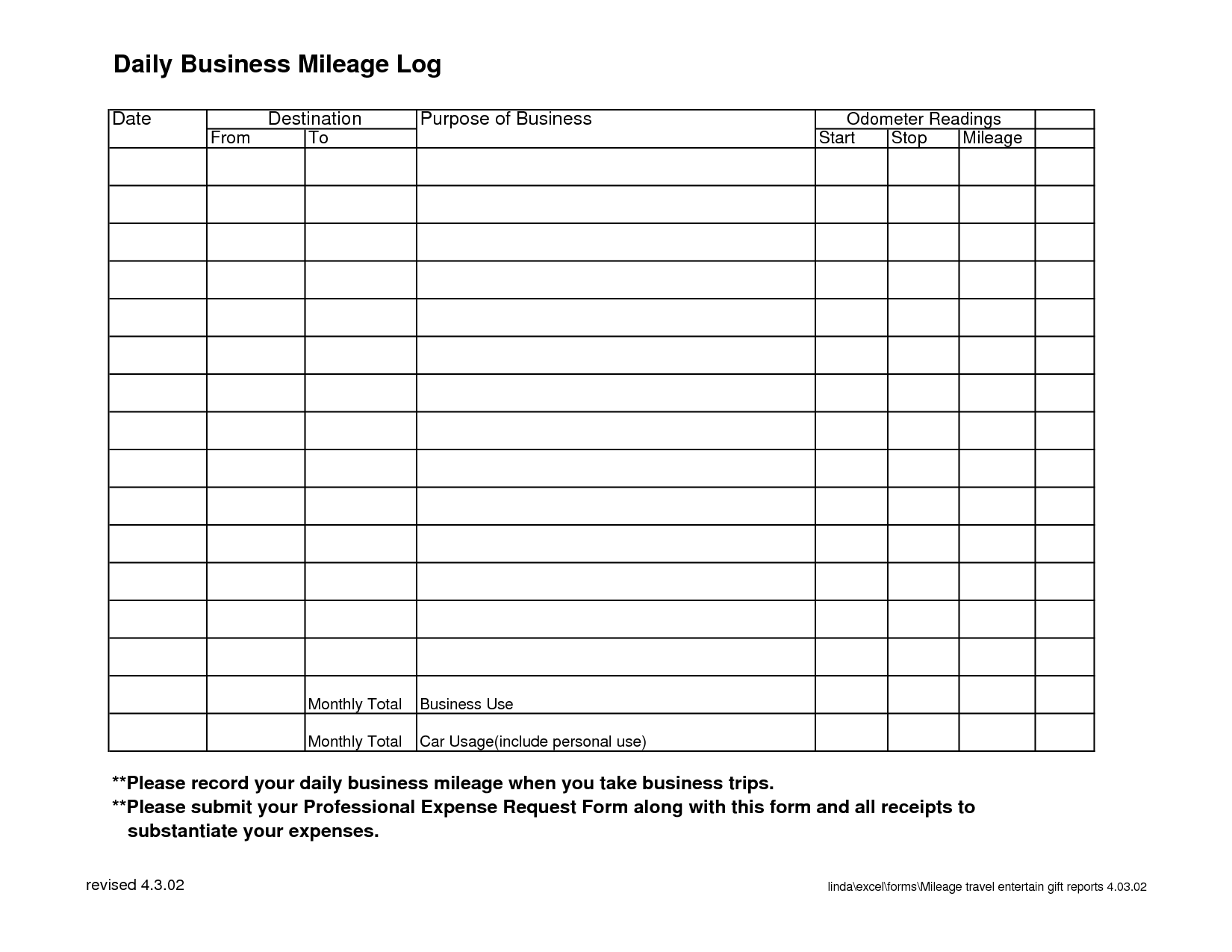 8 best images of monthly mileage log template printable printable mileage log template. Black Bedroom Furniture Sets. Home Design Ideas