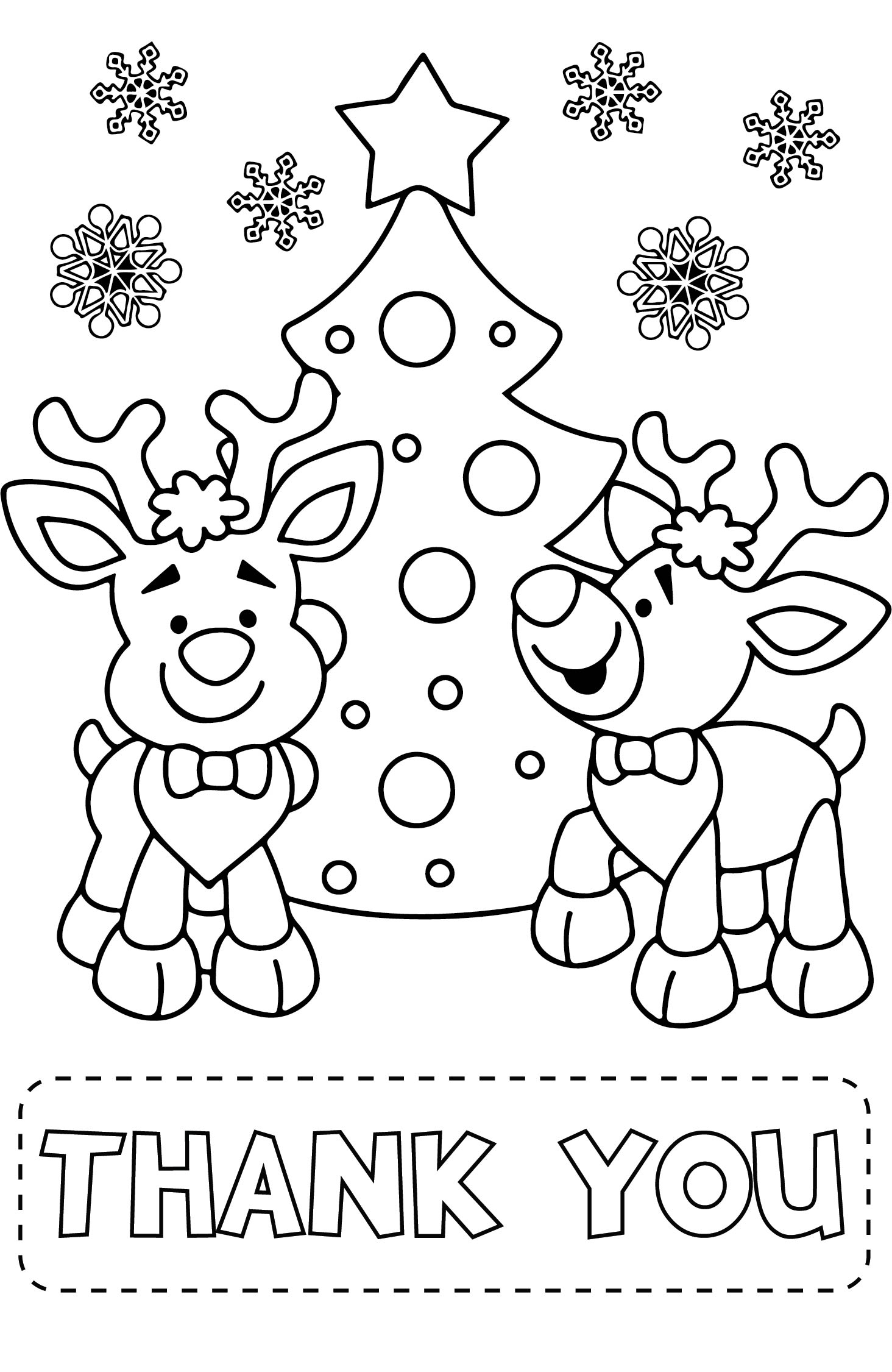 9 Images of Christmas Printable Coloring Thank You Cards