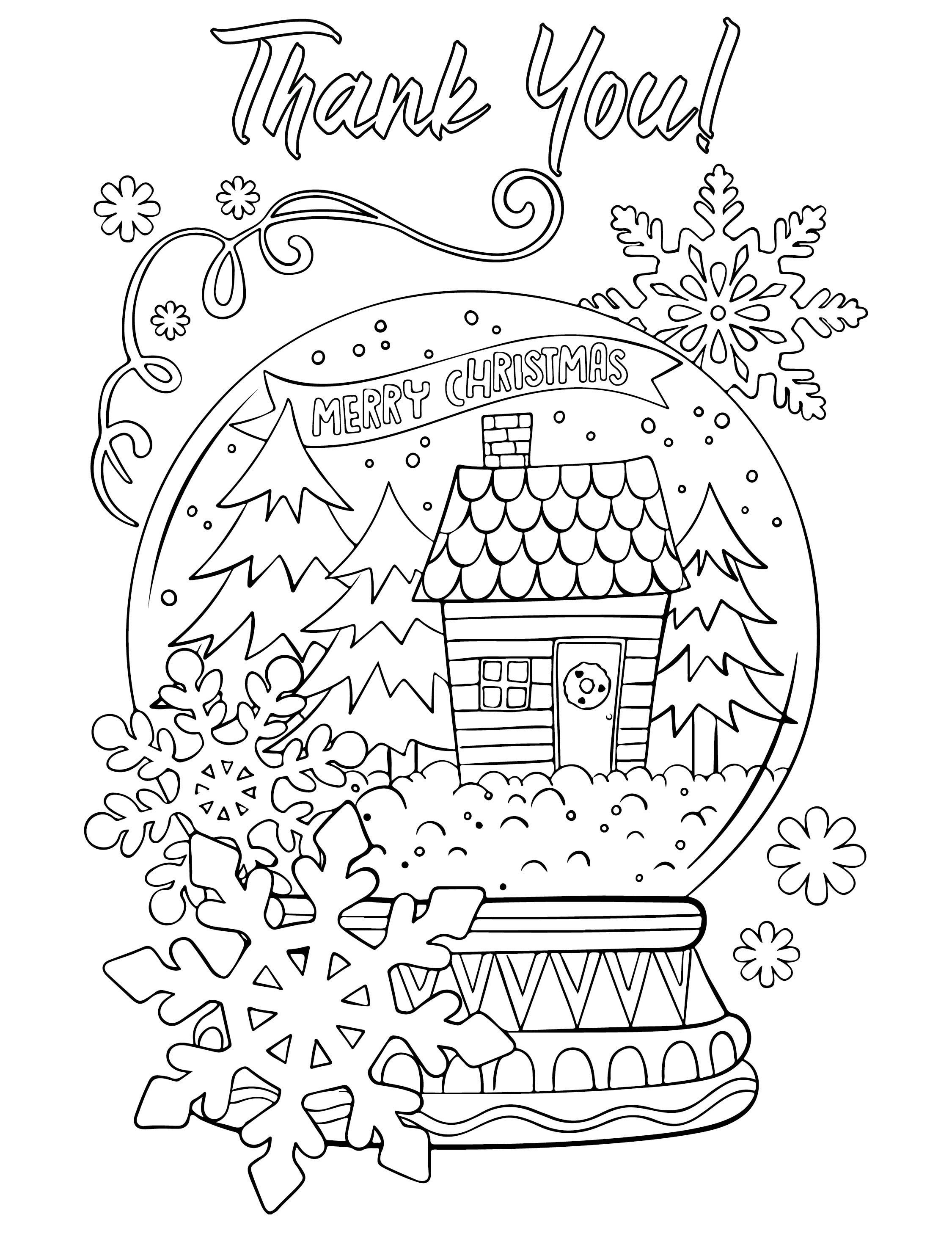Christmas Thank You Coloring Page