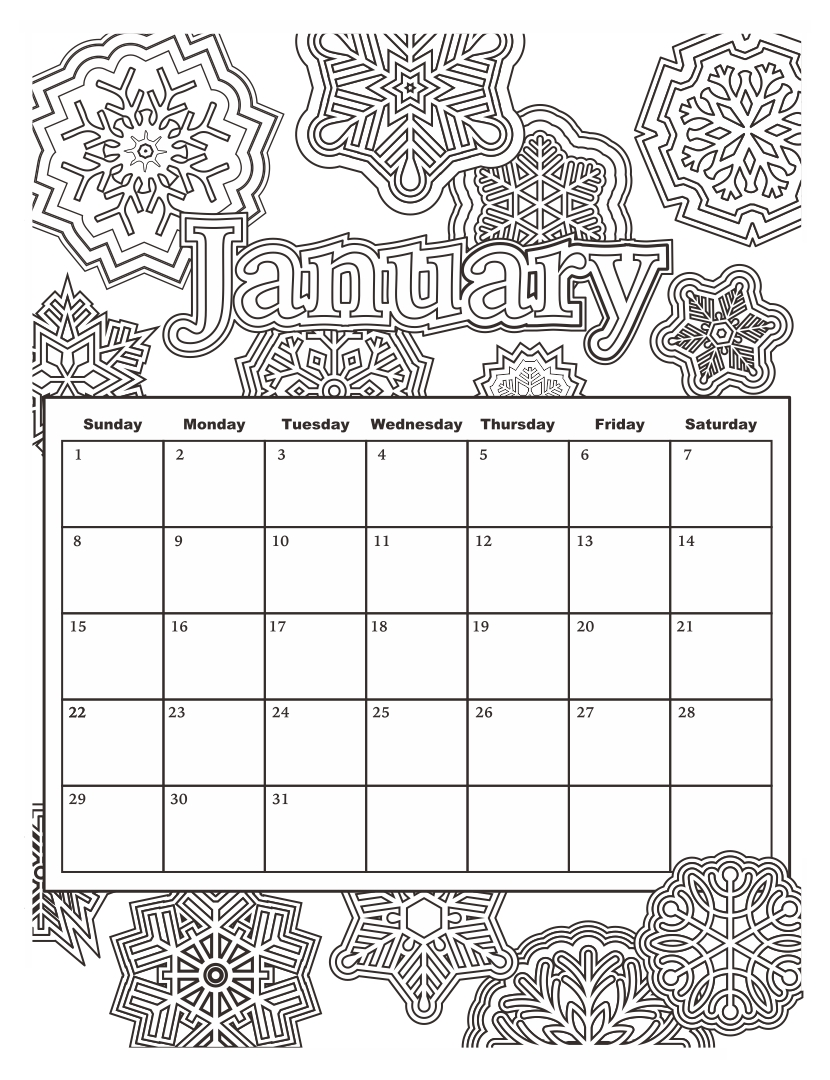 Coloring Pages Printable Calendar