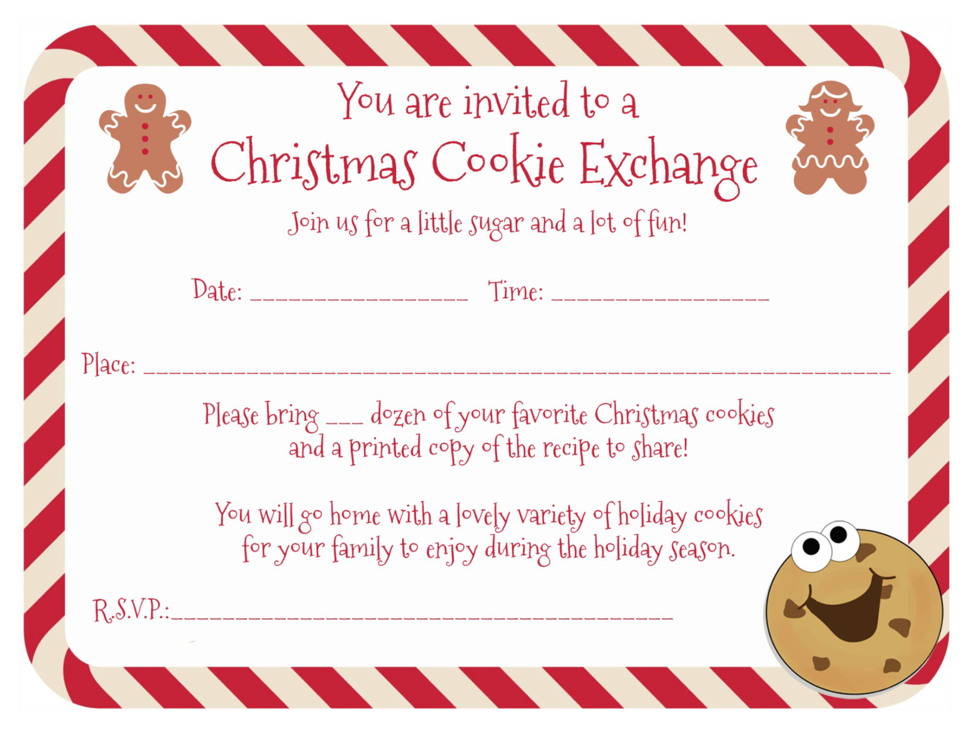 8 Images of Cookie Swap Printable Invitation Template