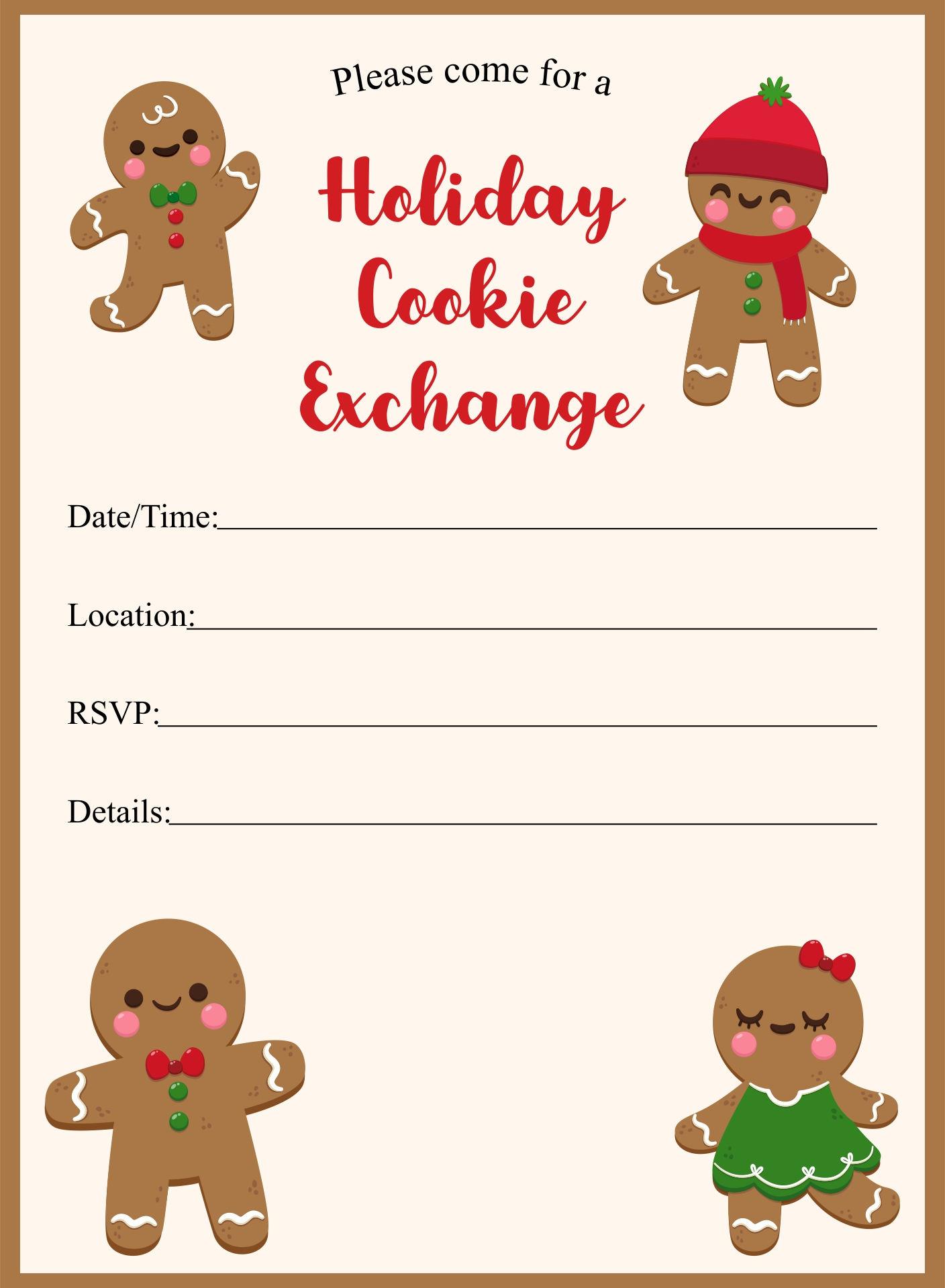 Cookie Exchange Party Invitation Template