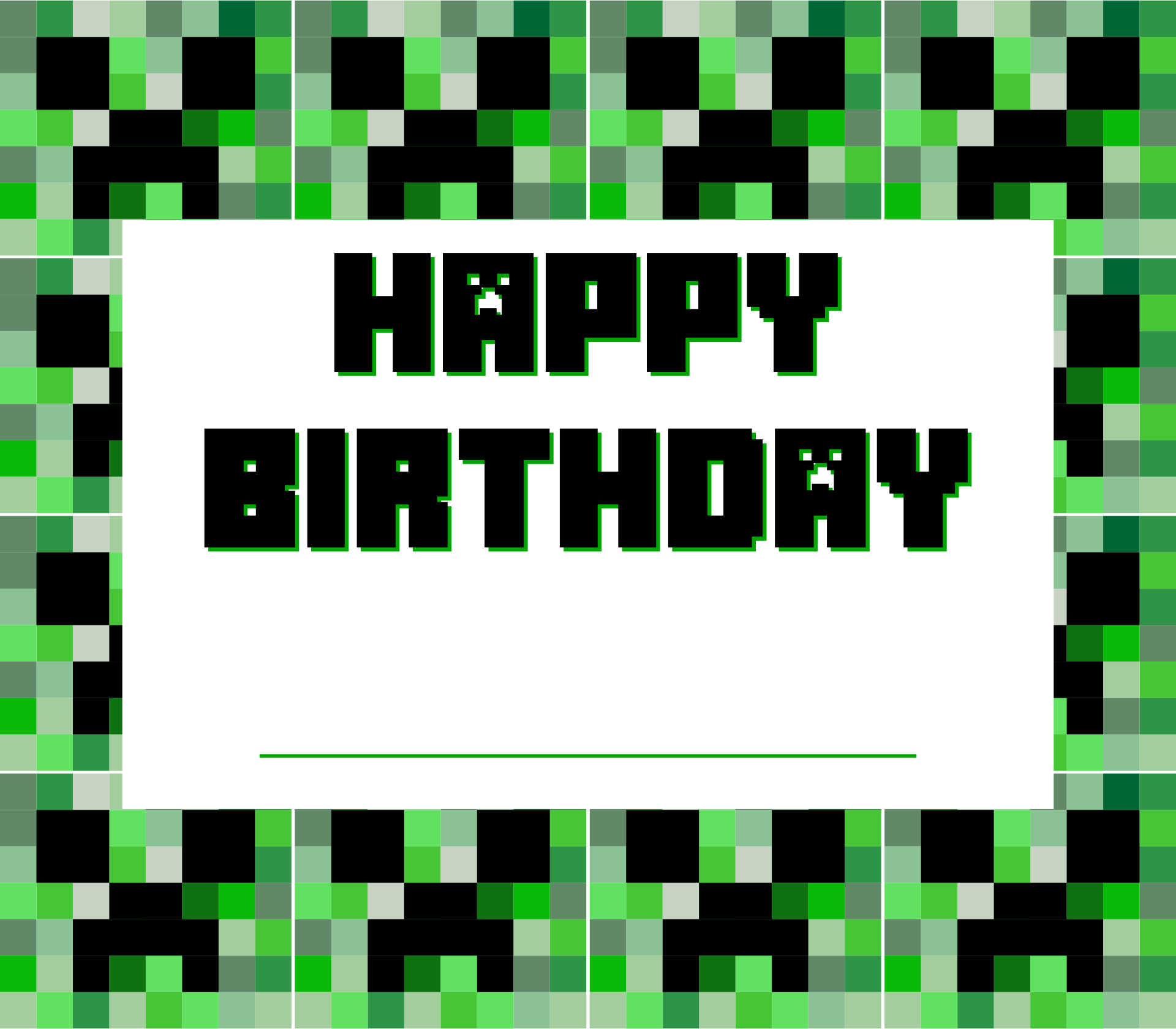 Creeper Birthday Card