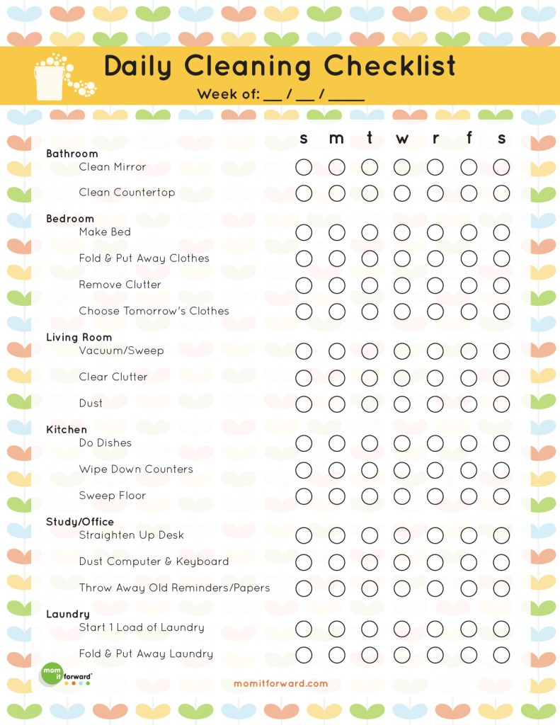 5 Images of Home Cleaning Organization Printables