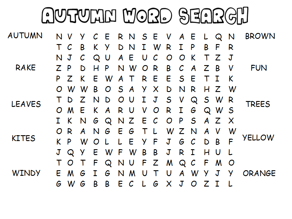 Easy Fall Word Searches Printable