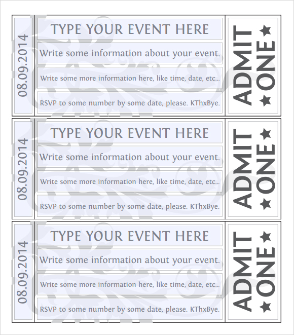 Doc644415 Ticket Format for Word Free Event Ticket Template – Ticket Format Template