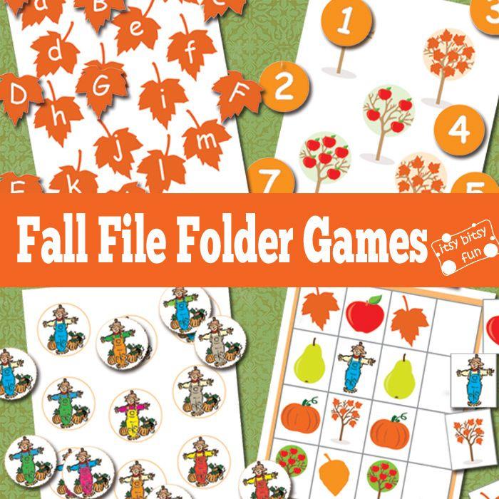 Fall Free Printable File Folder Games