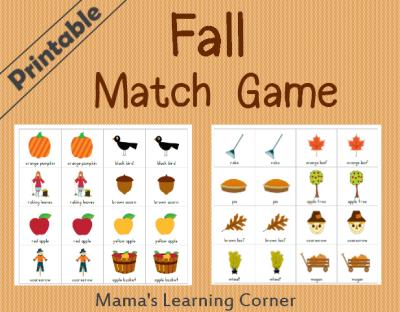 Fall Matching Game Printable
