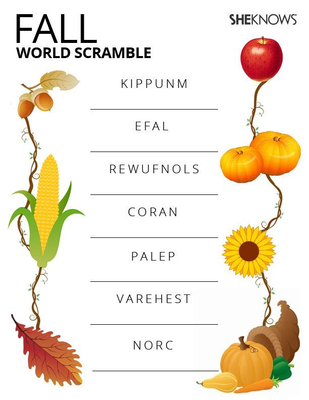 Fall Word Scramble Printable