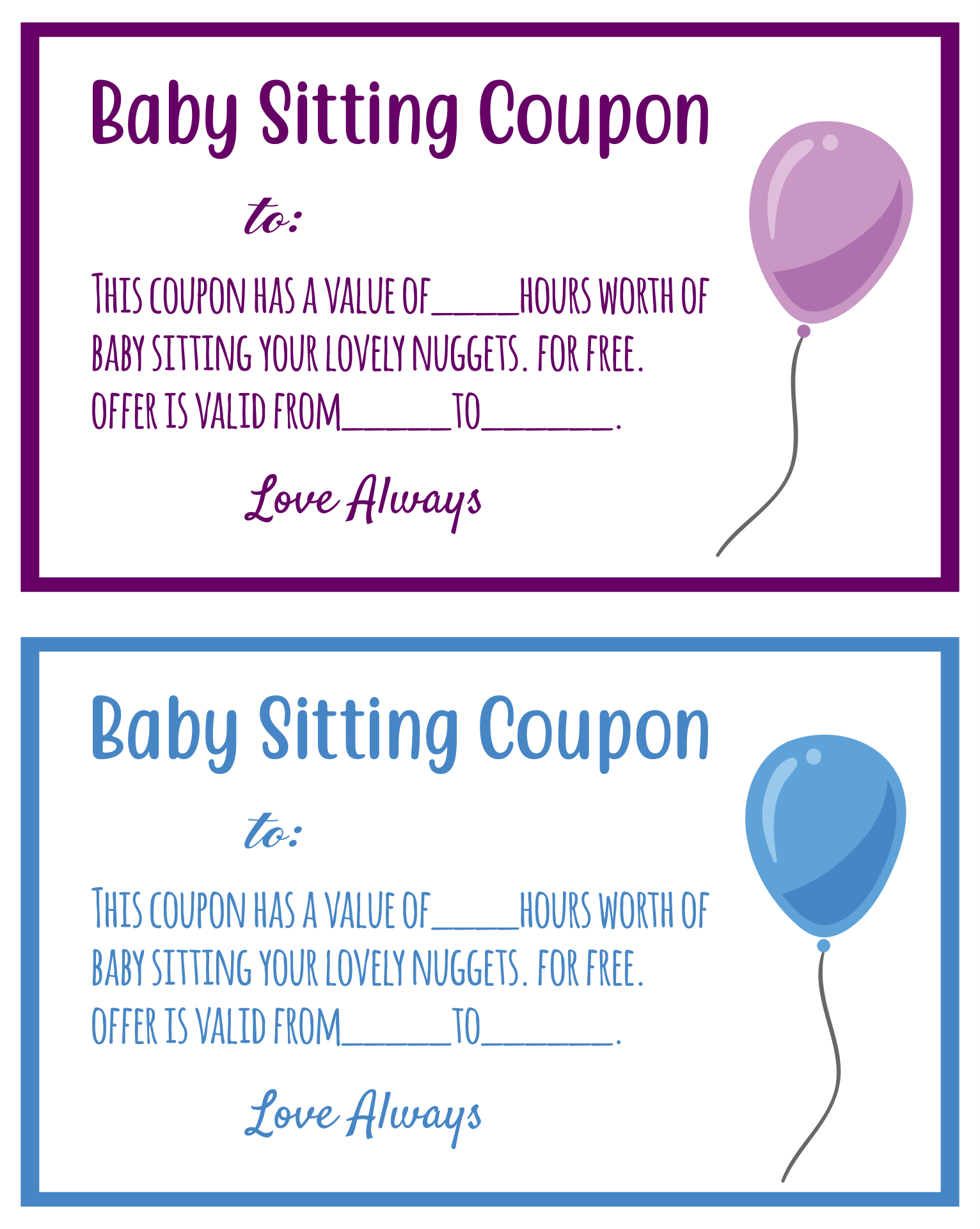 Free Babysitting Coupon Clip Art
