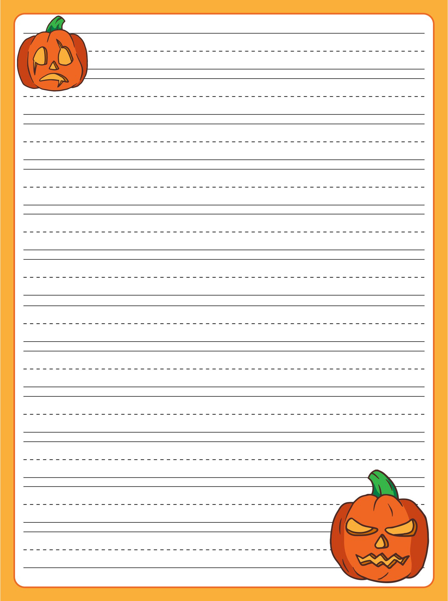 Halloween Writing Paper for Kids