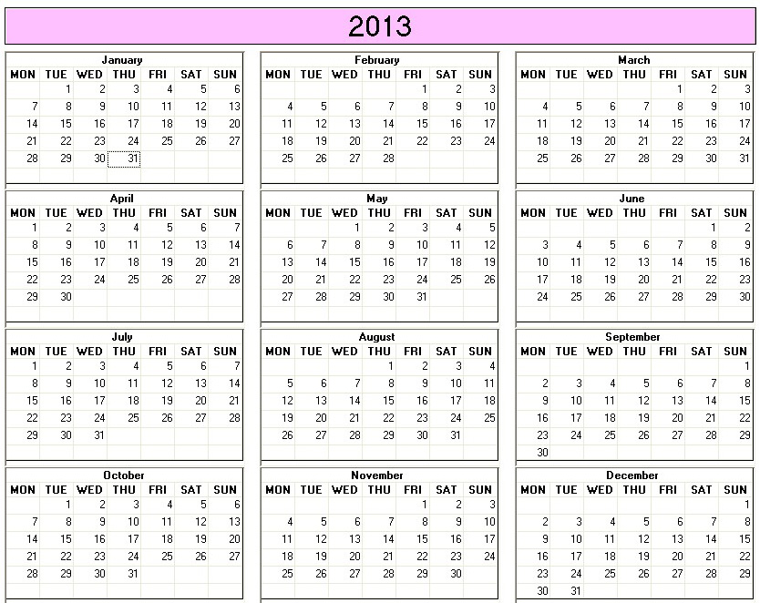 Free Printable 2013 Yearly Calendar Template