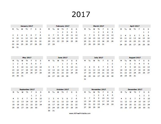 Monthly Calendar Year 2017 – printable calendar 2017