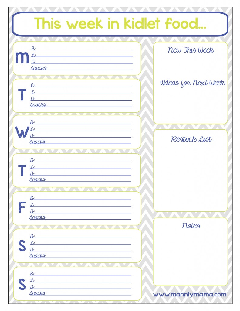 6 Images of Printable Blank Day Care Menus