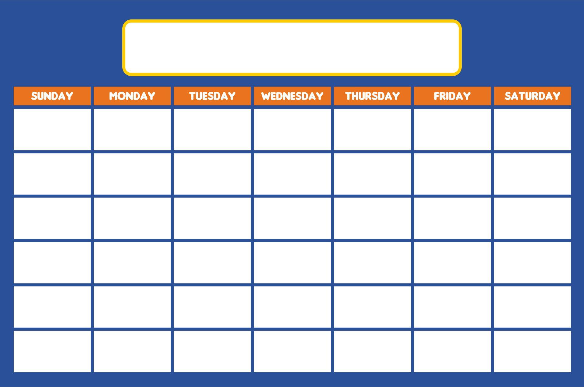 Printable Blank Preschool Calendars