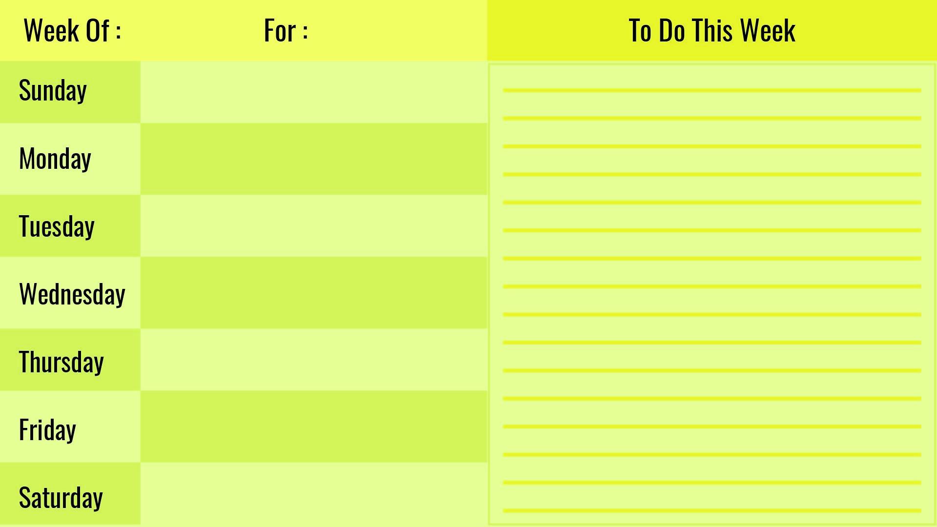 Printable Blank Weekly Calendar