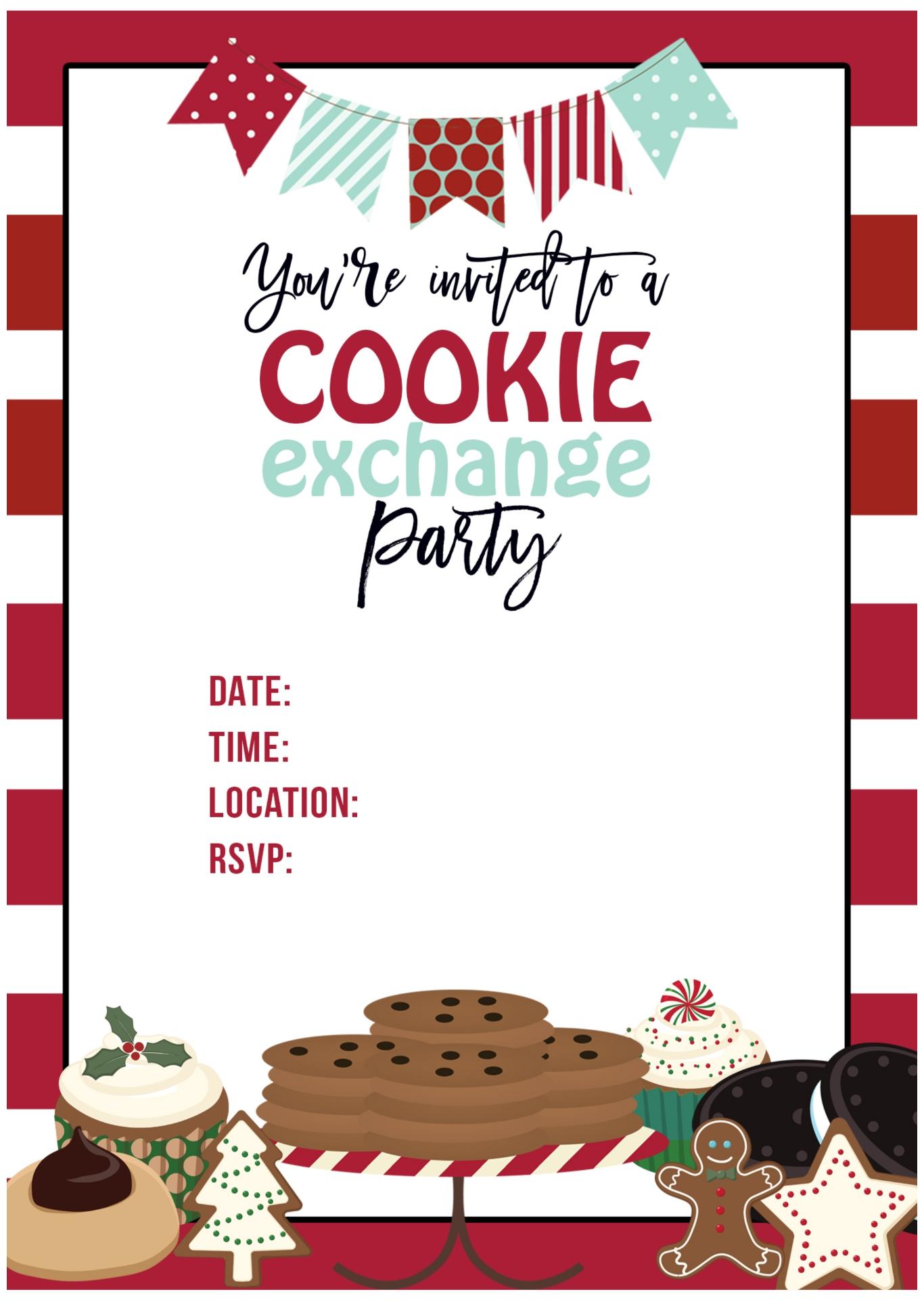 Printable Cookie Exchange Invitation Template