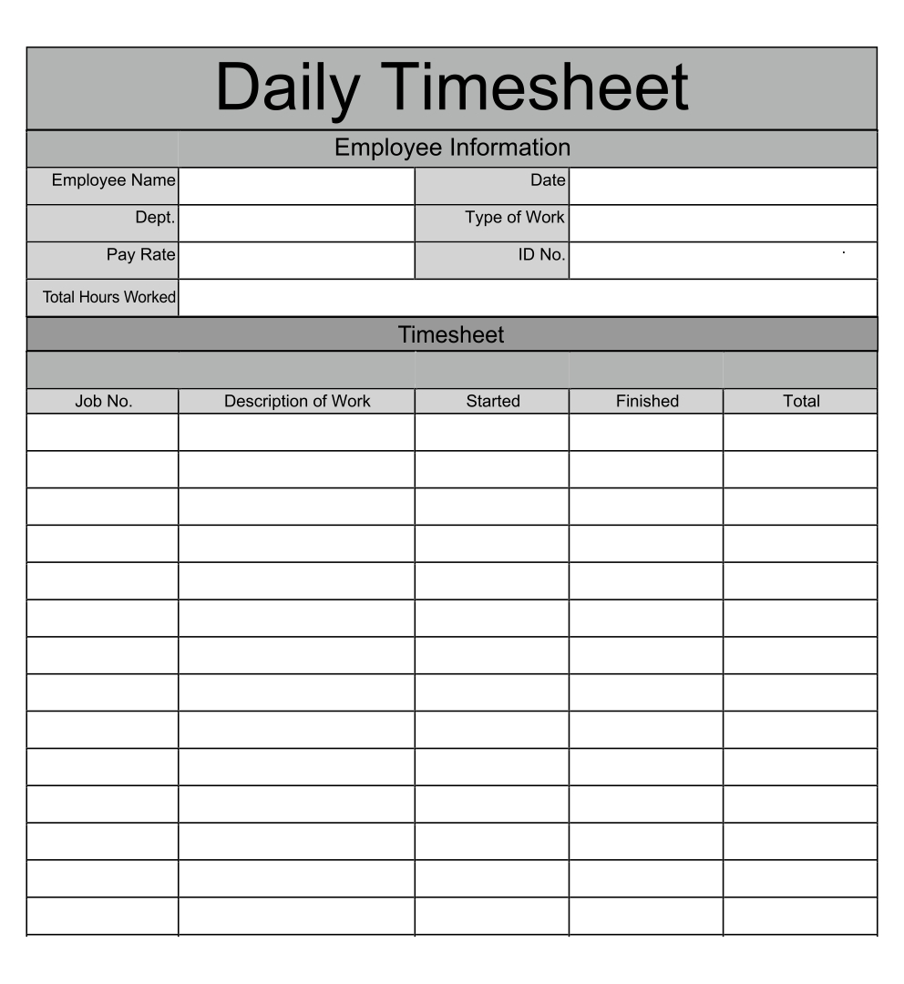 Printable Daily Time Sheet