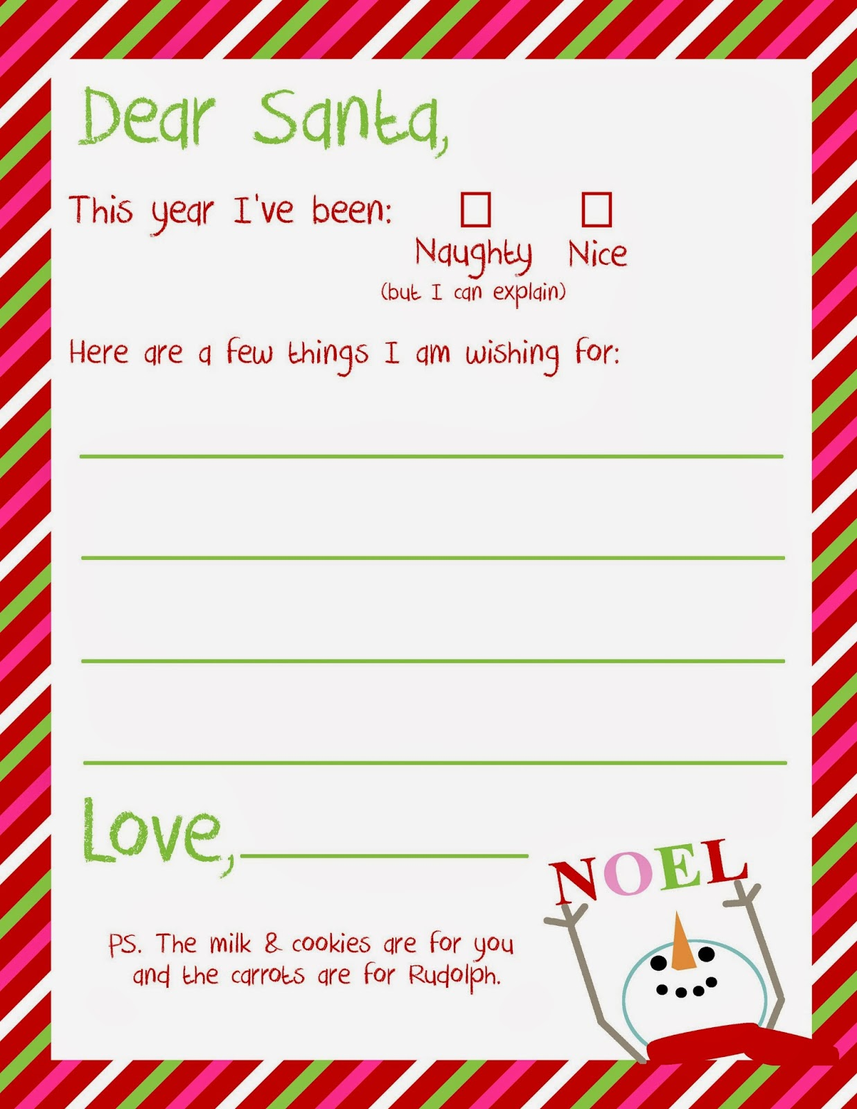 9 Images of Dear Santa Printables