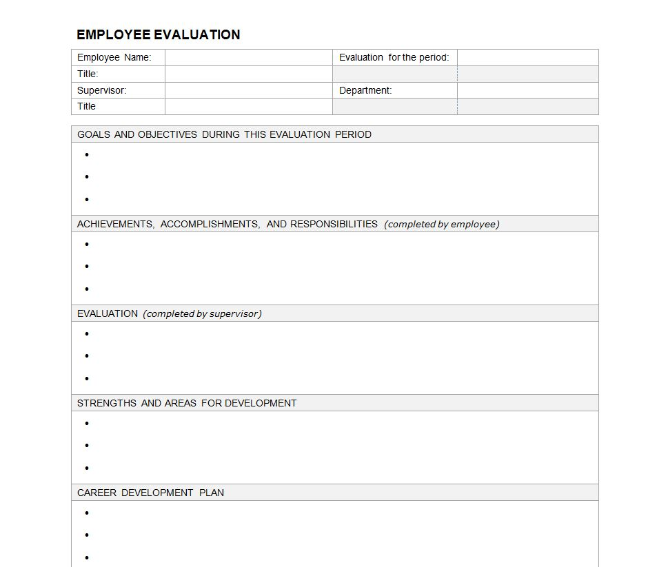 job evaluation questionnaire template - 6 best images of blank evaluation forms printable free