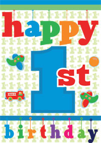 8 Images of Free Printable First Birthday Cards