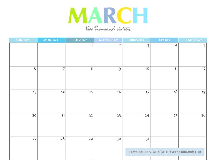 Free Printable March Calendars 2016 Com