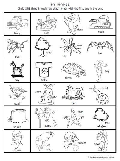 9 Best Images of Printable Rhyming Worksheets For Kindergarten ...