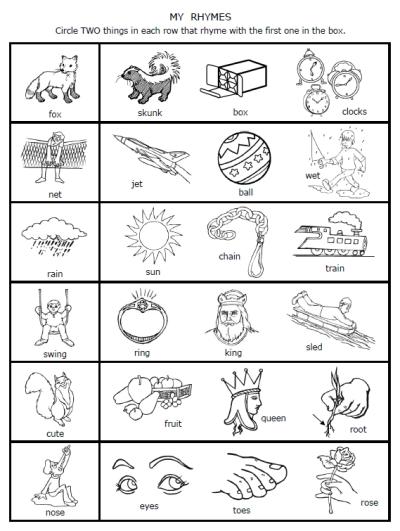 9 Images of Printable Rhyming Worksheets For Kindergarten