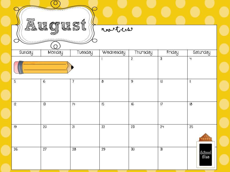 Teacher Calendar Template 2015 from www.printablee.com