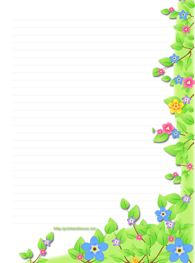 6 Images of Flowers Printable Stationery Templates