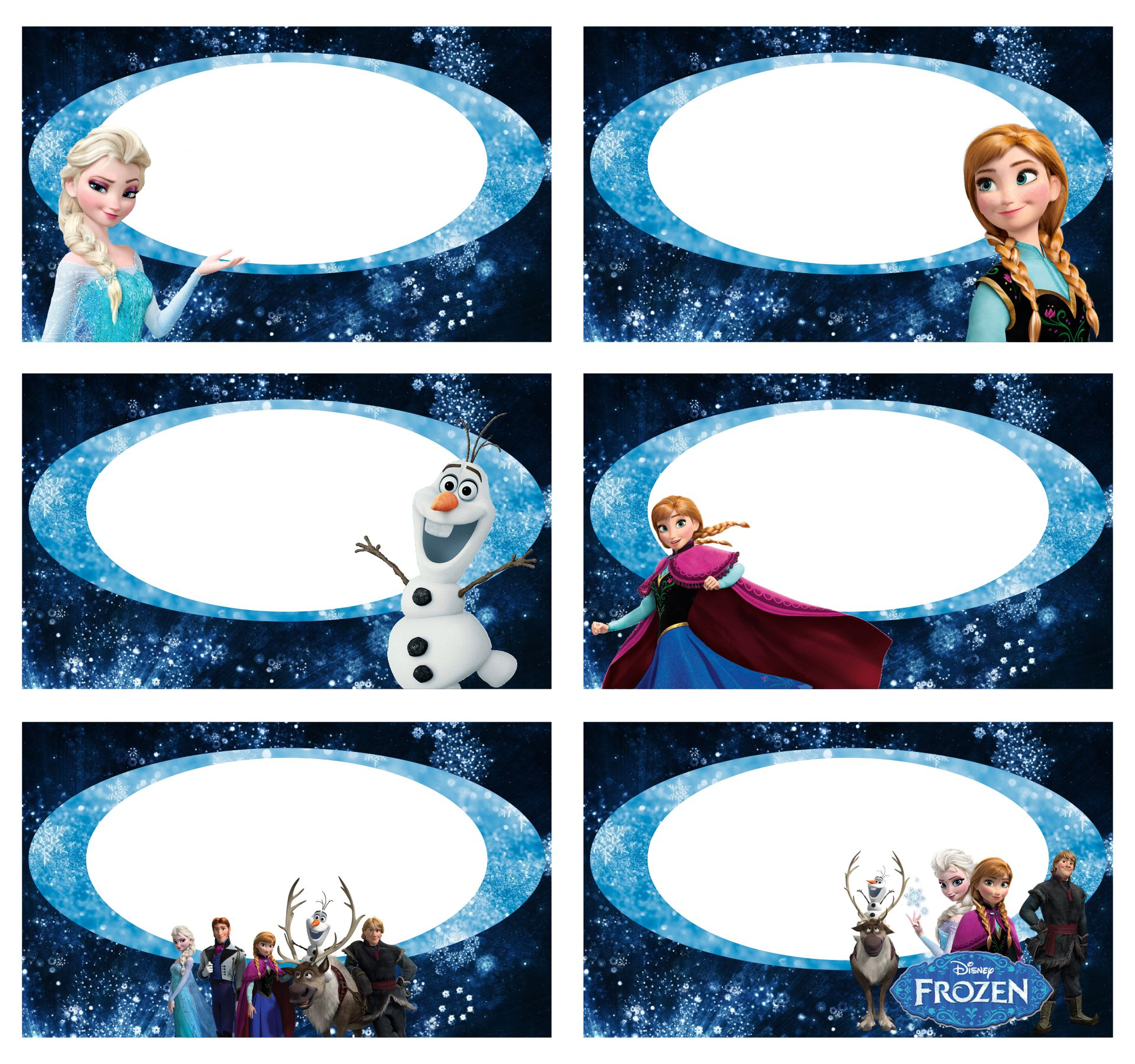 Frozen Birthday Party Food Labels Printable