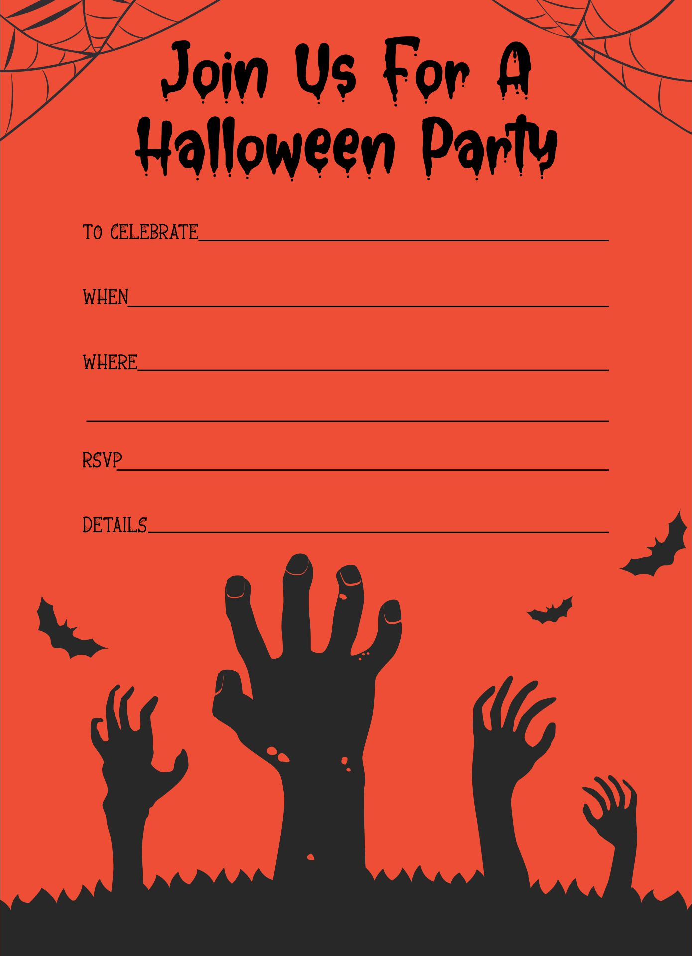 6 best images of blood splatter halloween party printable invitation templates free halloween for Free halloween flyers templates