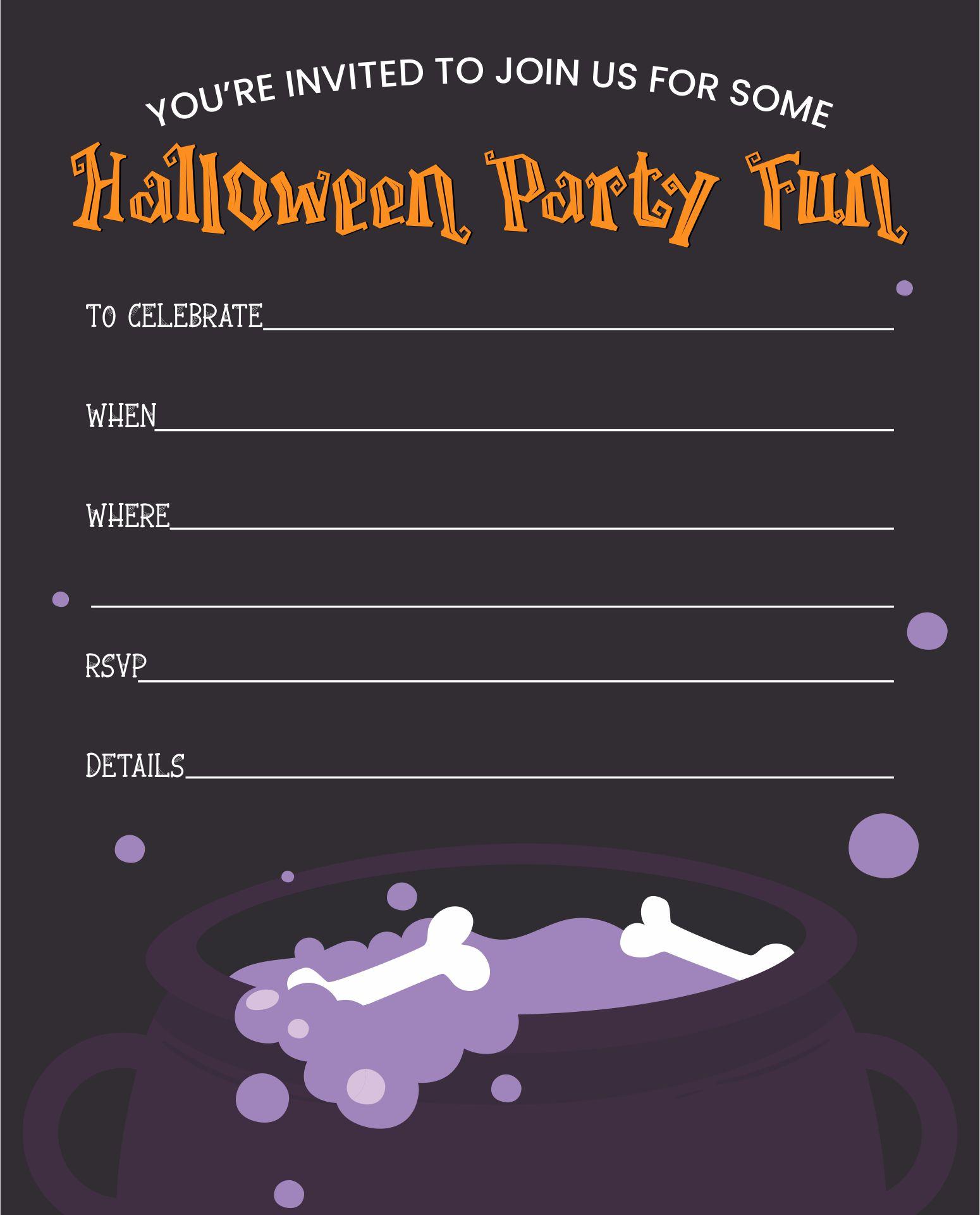 Halloween Party Invitation Templates Printable Free
