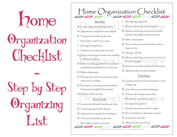 Home Organization Checklist
