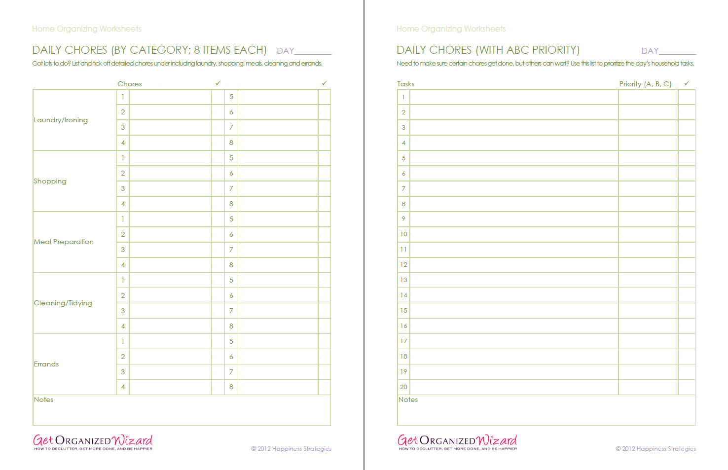 Home Organizing Printable Worksheets