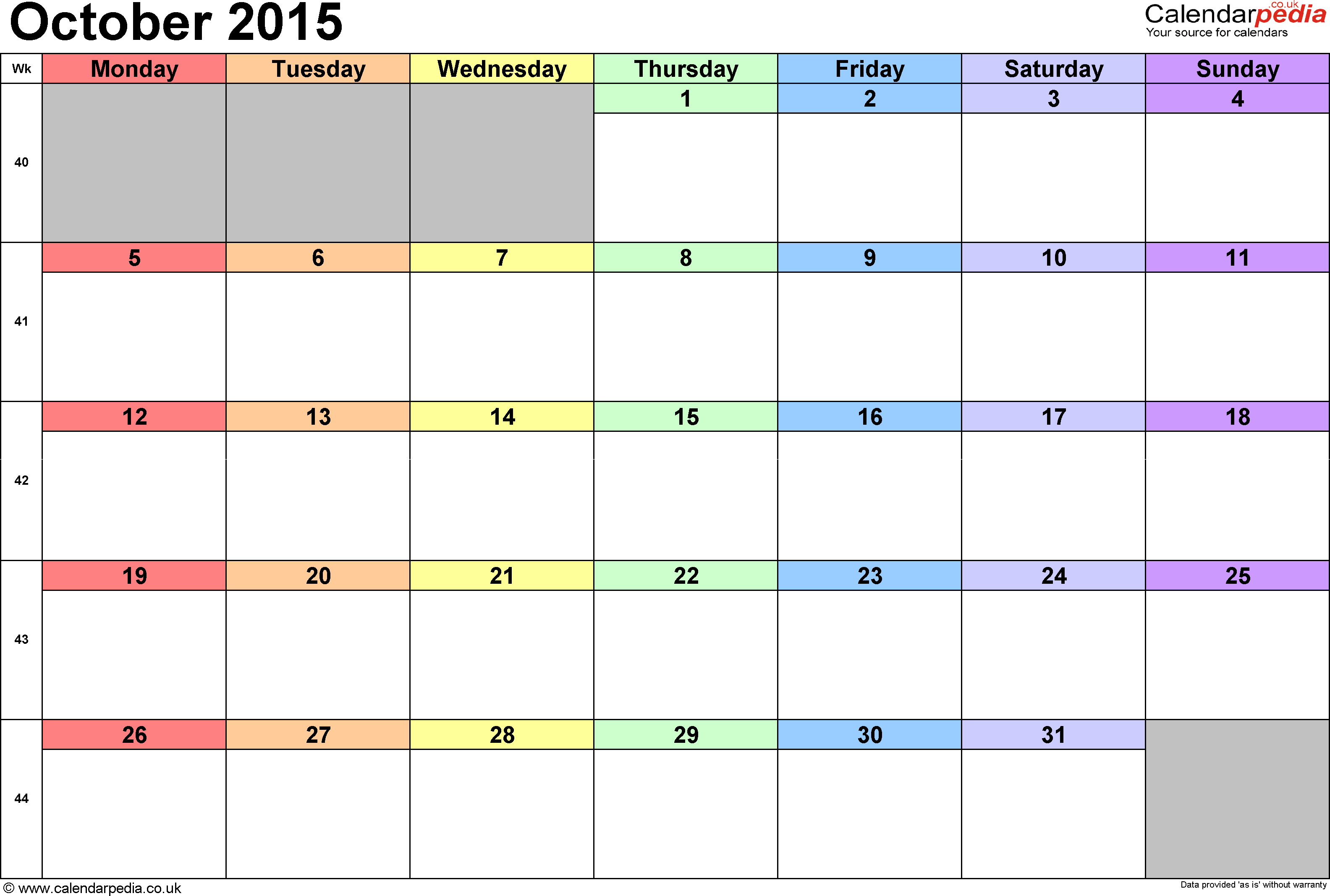 10 Images of Oct 2015 Calendar Printable Rainbow
