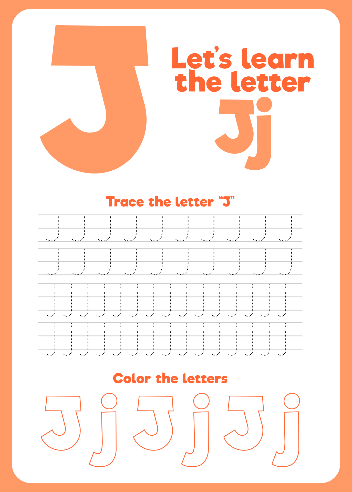 Letter J Printable Worksheets