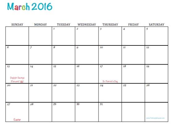 March 2016 Calendar Printable 8 X 11