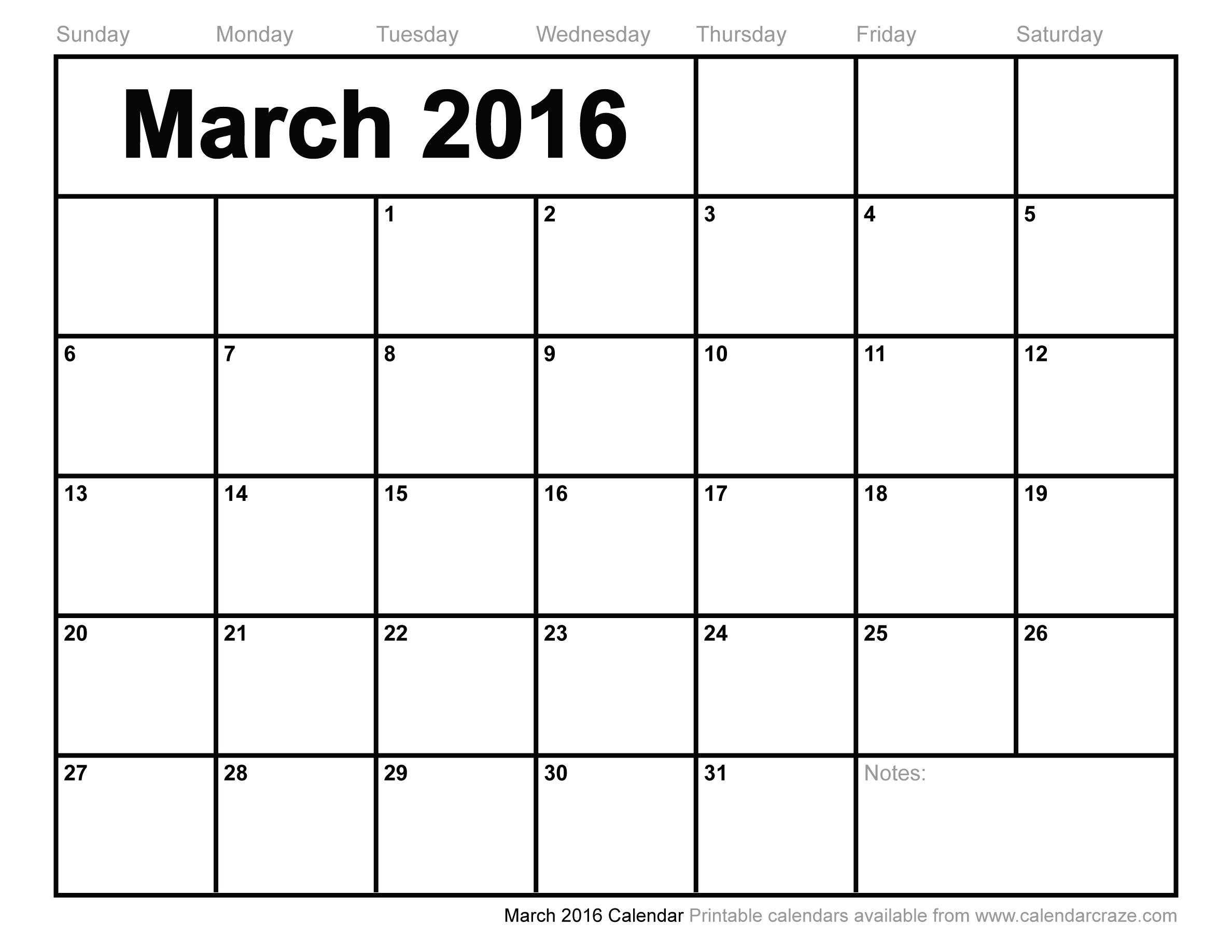March 2016 Calendar Printable