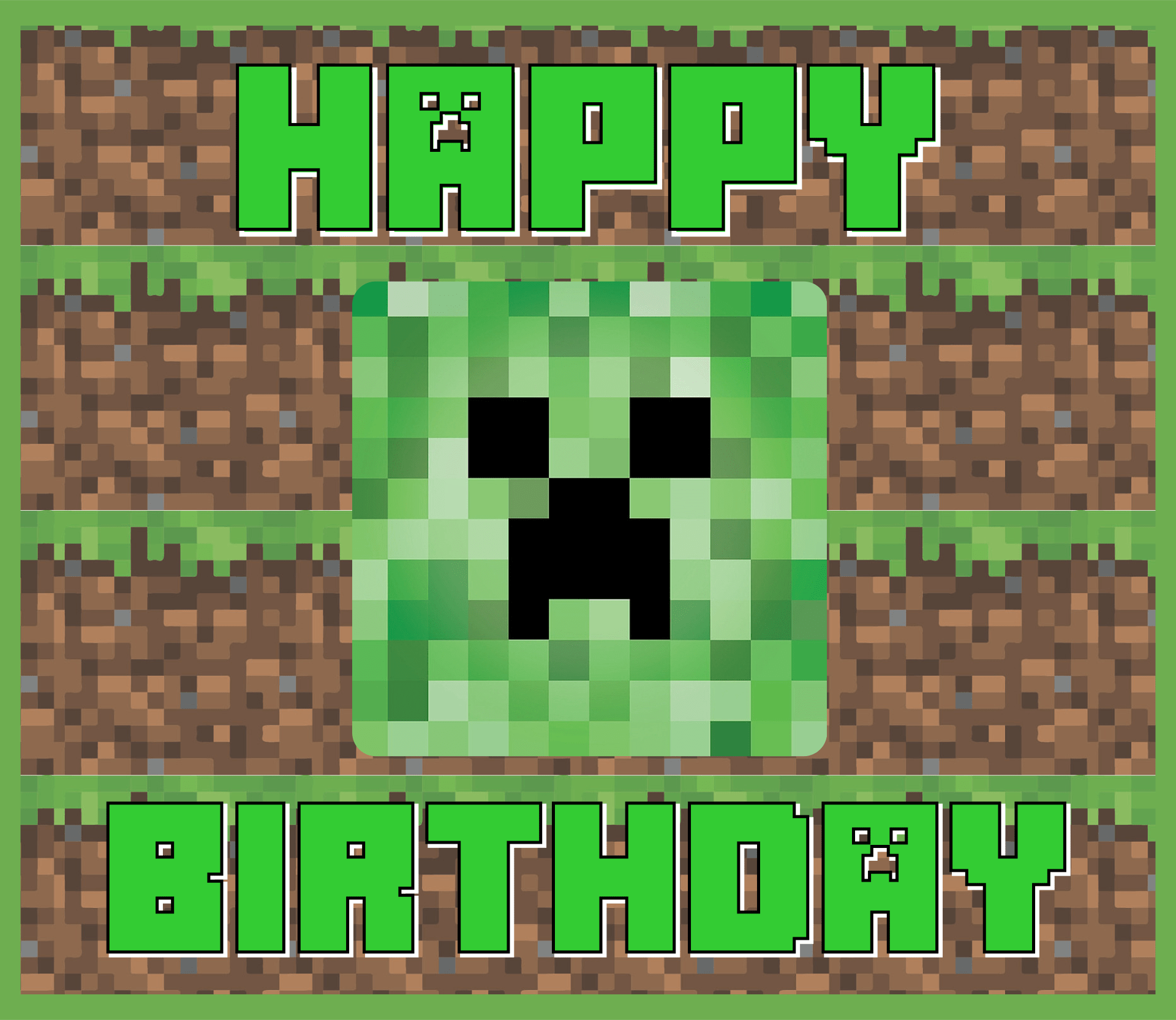 Minecraft Creeper Birthday Card Printable