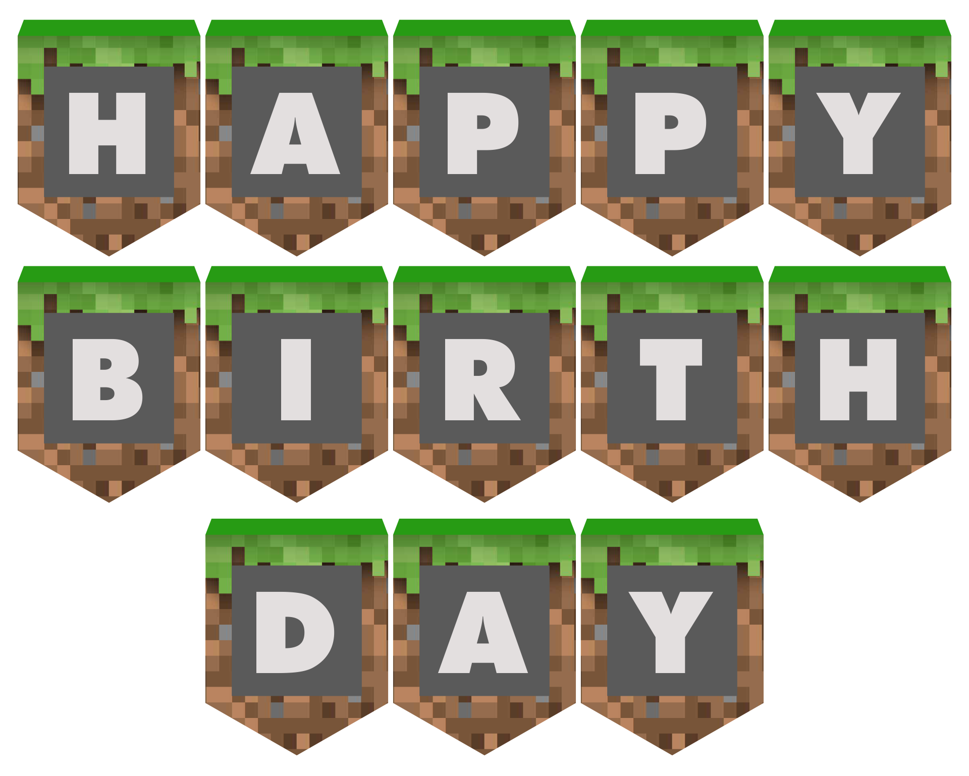 Minecraft Happy Birthday Printables