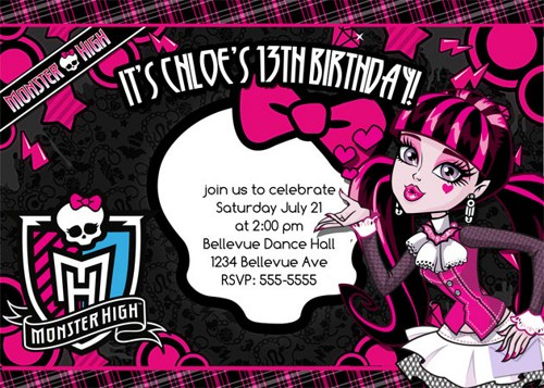 monster high invitation cards   invitation cards, Birthday invitations