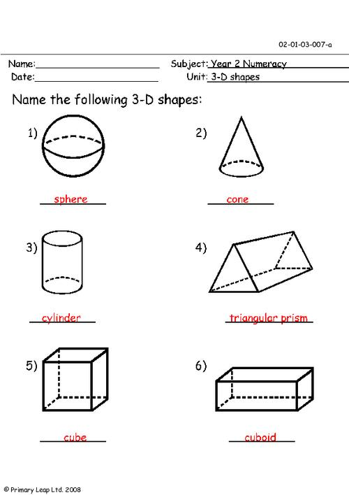 5 Images of Recognition Printable Solid Shapes Worksheet