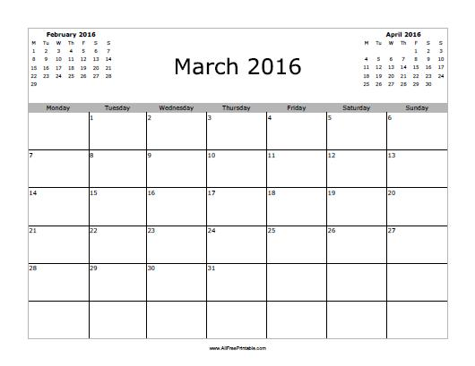 7 Images of March 2016 Calendar Printable Free