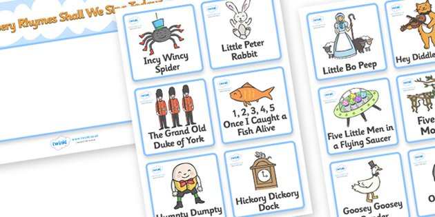 Nursery Rhyme Cards Printable